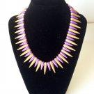 Lane Violet Gold Metal  Spike Necklace NEW