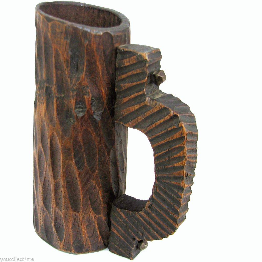 Vintage Handcrafted Home Decor Wooden Vase Pen Holder Carved Handle Cup Mug B