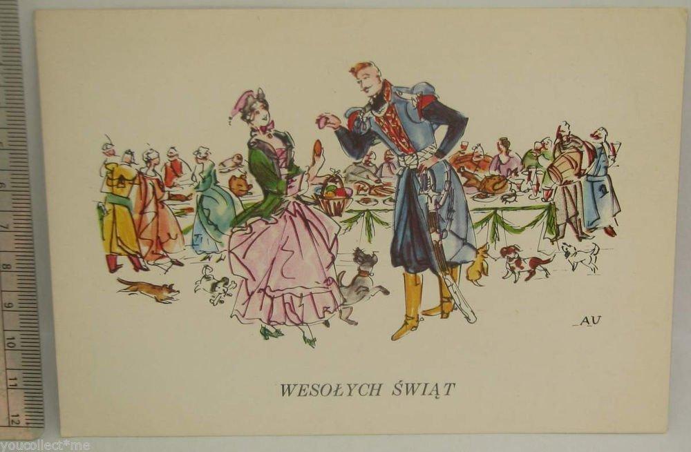 vintage postcard soldier in uniform dancing lady party food drinks
