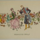 vintage postcard soldier in uniform dancing lady party food drinks