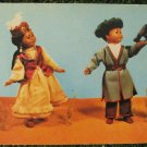 Falcon Hunters Boy Girl Dolls in Kazakh National Folk Costumes Vtg Post Card 60s