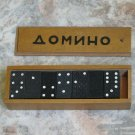 Vintage Bulgarian Dominoe 28 Pieces Set Wooden Box Signed Cyrillic Letters