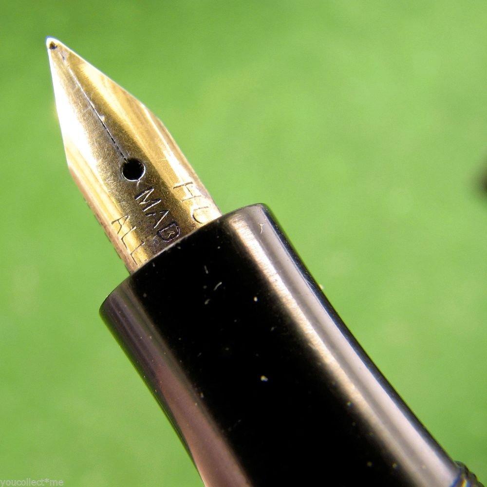 Vintage Piston Filler Fountain Pen Bakelite Barrel No Cap Gold Alloy Nib Hungary