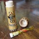 VINTAGE BULGARIAN ROSE OIL OTTO ESSENCE WOODEN CASE PYROGHRAPHED GLASS BOTTLE #3