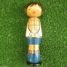 Singing Boy in Shorts Socks Uniform Vintage Wooden Figurine USSR 1970s Deco Toy