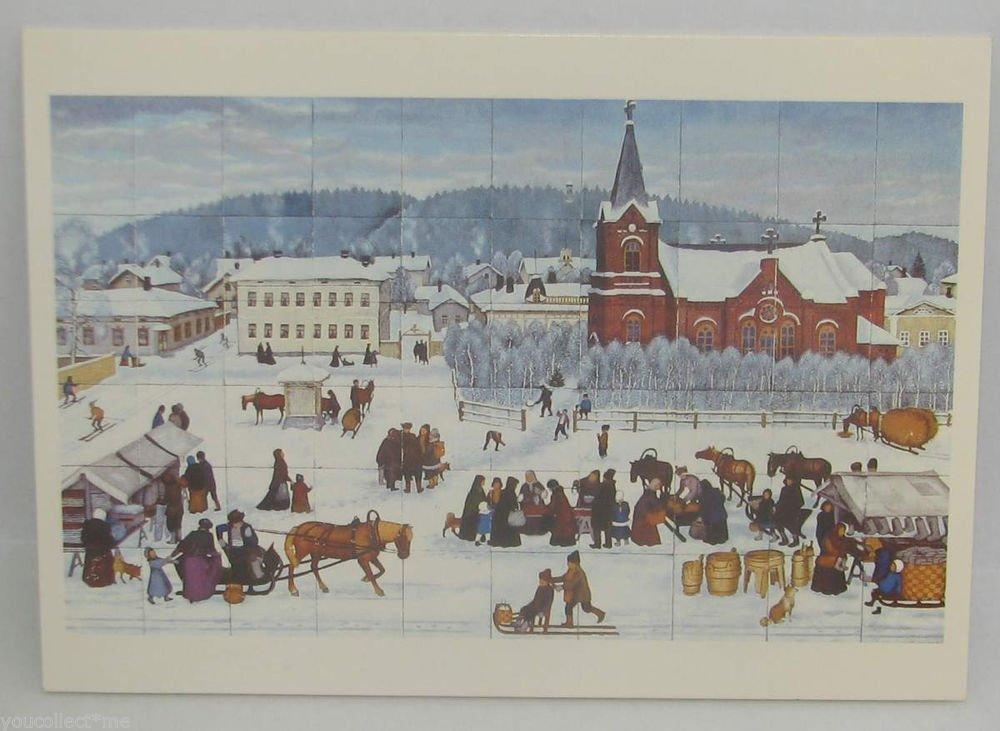 vintage postcard Old Church Square Elina Asunta Finland Painter Unesco Swiss Mad