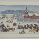 vintage postcard Old Church Square Elina Asunta Finland Painter Unesco Swiss Mad