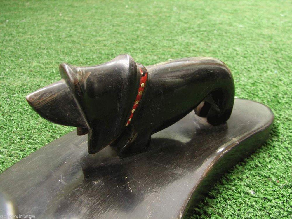 Vintage Business Card Pen Pencil Holder Cow Horn Made Dog Figurine Man Cave Deco