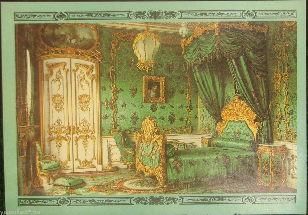 Dacha Palace Bedroom Premazzi Watercolor Painting XIXc Vintage Postcard USSR