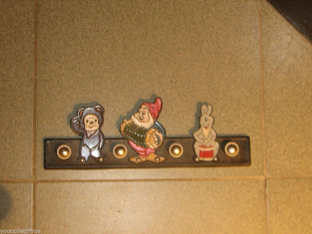 Vintage Clothes Hanger 3 Cartoons Cheburashka Dworf Rabbit USSR 1970s Iron Base