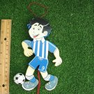 Blue White Stripes Team Apparel Outfit Soccer Football Player Wooden Figurine