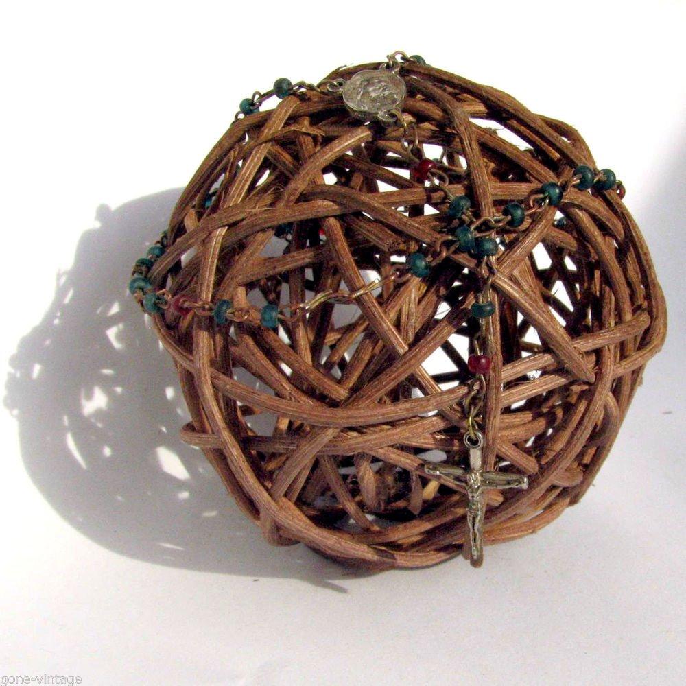 Vintage Rosary Glas Color Beads Silver Color Crusifix