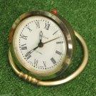 Vintage Gold Ring Base Alarm Clock SLAVA Soviet USSR Nice Desktop Watch Working