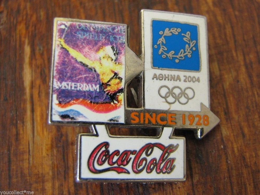 COCA COLA ATHENS 2004 Olympic Games Pin Badge SINCE AMSTERDAM 1928 signed TROFE