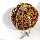 Vintage Rosary Mop Beads Silver Color Crusifix Italy