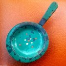 Vintage Childrens Kitchen Toys Frying Pan w/ Green Cover Plate Color Dots Ornate