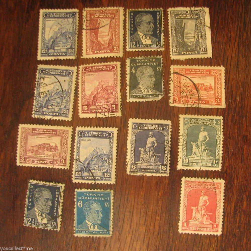 Vintage Postage Stamps Lot 15 pc Turkiye Cumhuriyeti Fair Condition Hard to Find