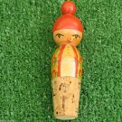 Nice Vintage Wine Bottle Cork Stopper Signed Budapest Hungary Girl Head Painted