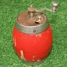 Small Vintage Pepper Spice Mill Grinder Red Wooden Body Used Rodina BGR 1970s NR