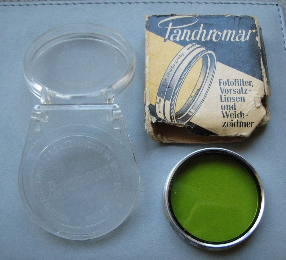 Vintage Photo Camera Lens Filter Yellow Panchromar Germany Boxed