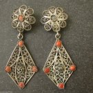 FILIGREE UNIQUE ANTIQUE VTG STERLING SILVER EARRINGS CORAL STONE HALLMARK 800