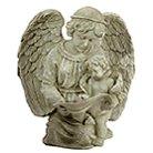 Angel Reading With Cherub Birdfeeder