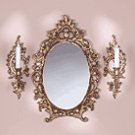 Baroque Mirror & Sconce Set