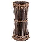 Rattan And Mango Wood Hourglass-Shaped Vase