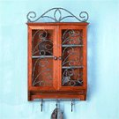 Wood Curio Cabinet With Key Holders