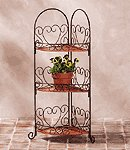 Metal And Rattan Corner Shelf