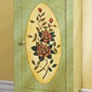 Green Floral Wood Cabinet