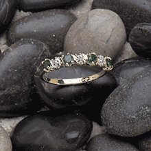 10K Gold Lady's Emerald Diamond Ring