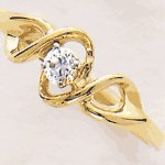 14K Gold Diamond Swirl Ring