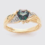 10K Gold Mystic Diamond Heart Ring