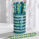Turquoise & Lime Pens In Holder
