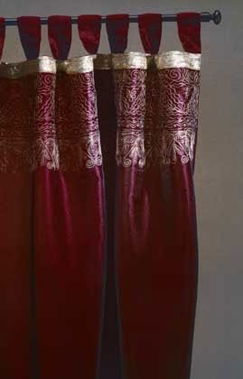 Burgundy Gold Trim Curtain