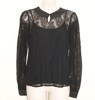 Black Lace Peter Pan Collar Ladies Blouse Top SIZE UK 14