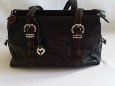 Genuine Brighton Women's Handbag Black Leather Chocolate Trim Metal Heart
