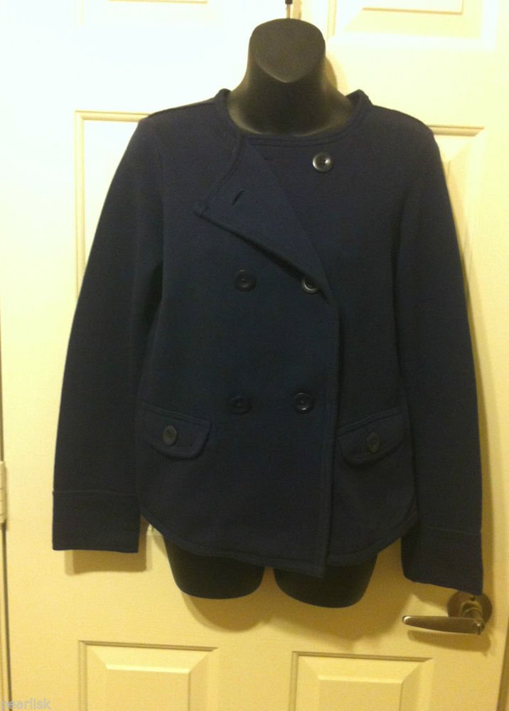 Gap Cotton Blend Double Breasted Military Jacket Navy Fleece Inner Large Buttons