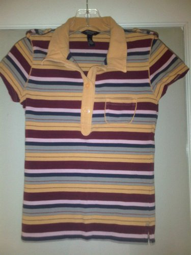 American Eagle Outfitters Stretch Polo Shirt M Striped Multicolor Single Pocket