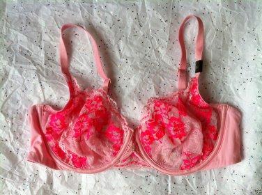 Victoria's Secret Desire Unlined Demi Bra 36C Pink Floral Lace