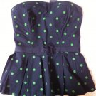 Abercrombie & Fitch Navy Smocked Strapless Bustier Top Green Polka Dot S