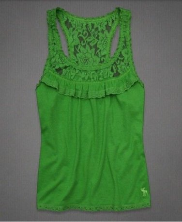 Abercrombie & Fitch Green Knit Top Racer Back Lace Trim Ruffle