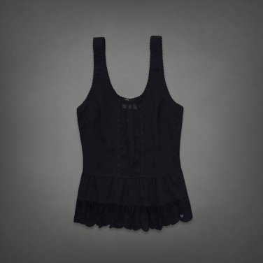 Abercrombie & Fitch Embroidered Boho Tank Top Navy Blue Lace L