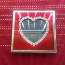 Genuine Austrian Crystals 3.5x3.5 Frame Heart Red Enamel Pink Patina Metal