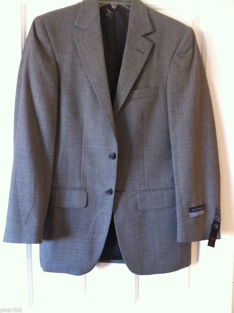 Harwick Clothes Men's Suitable Separates Two Button Blazer Gray 34R Worsted Wool