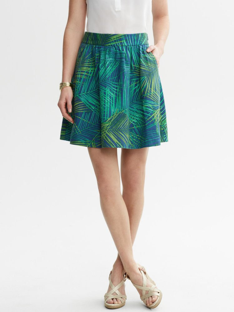 Banana Republic Linen Fern Print Mini Skirt Safari Blue Green Size 4