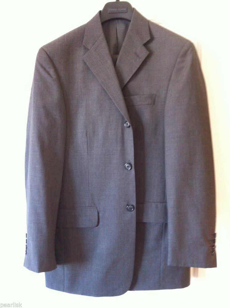 Giorgio Cosani Wool Mens Three Button Suit 38R Shark Grey