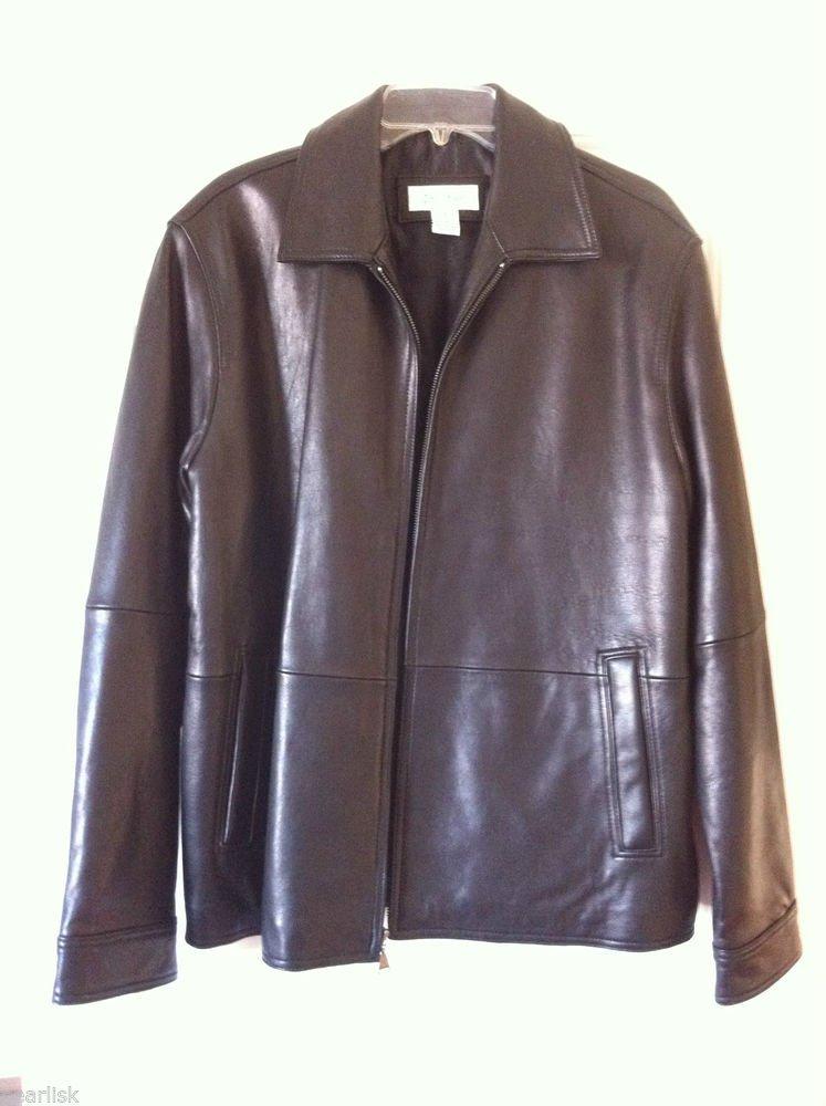 Calvin Klein 100% Genuine Leather Zip Coat Black Jacket Moto Style M Motorcycle