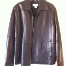 Calvin Klein 100% Genuine Leather Zip Coat Black Jacket Moto Style M Motorcycle